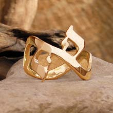 Amulets and Charms - AHAVA Ring Gold - Click here for more info