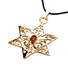 Amulets and Charms - Inlaid Star of david - Gold - Click here for more info