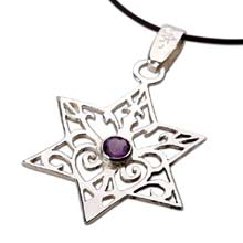 Amulets and Charms - Inlaid Star of david - silver - Click here for more info