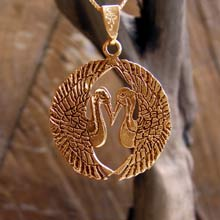 Amulets and Charms -  Japanese Cranes Pendant Gold - Click here for more info