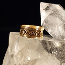 Amulets and Charms - Diligo Ergo Sum ring gold (wide) - Click here for more info