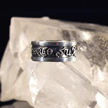 Amulets and Charms - Diligo Ergo Sum ring silver (wide) - Click here for more info
