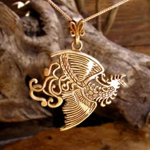 Amulets and Charms - Fire Element Pendant Gold - Click here for more info
