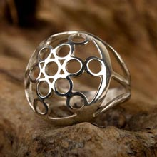 Amulets and Charms - Fruit of life ring silver - Click here for more info