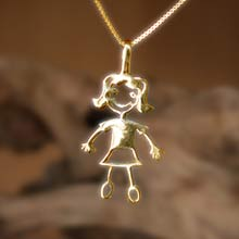Amulets and Charms - Happiness pendant (girl) gold - Click here for more info