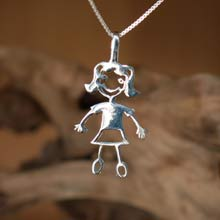 Amulets and Charms - Happiness pendant (girl) silver - Click here for more info