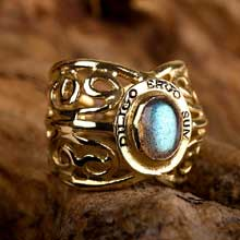 Amulets and Charms - I love therefore I am ring gold - Click here for more info