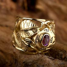 Amulets and Charms - Inlaid Buddhi ring gold - Click here for more info