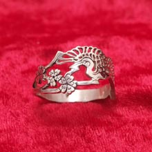Amulets and Charms - Japanese crane ring silver - Click here for more info
