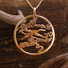 Amulets and Charms - Japanese Stork Pendant Gold - Click here for more info