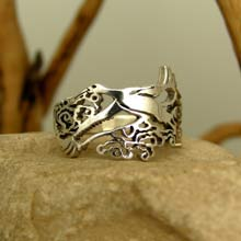 Amulets and Charms - Japanese Stork Ring Silver - Click here for more info