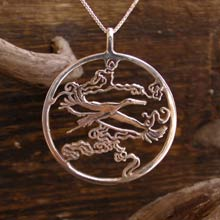 Amulets and Charms -  Japanese Stork Pendant Silver - Click here for more info
