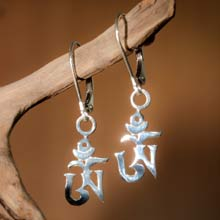Amulets and Charms - Om earrings silver - Click here for more info