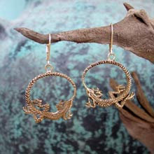 Amulets and Charms - Ouroboros Earrings Gold - Click here for more info