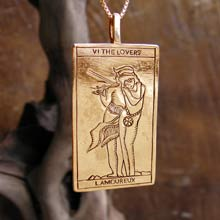Amulets and Charms - Tarot Lovers Card Pendant Gold - Click here for more info