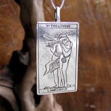 Amulets and Charms - Tarot Lovers Card Pendant Silver - Click here for more info