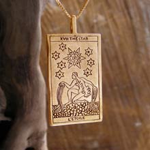 Amulets and Charms - Tarot Star Card Pendant Gold - Click here for more info