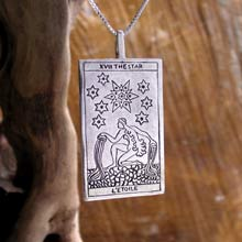 Amulets and Charms - Tarot Star Card Pendant Silver - Click here for more info