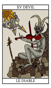 tarot birth cards  the devil and the lovers, Birthday card