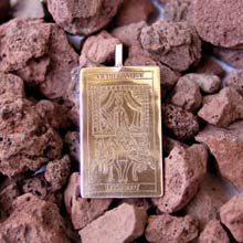 Amulets and Charms - Tarot Chariot Card Pendant Gold - Click here for more info
