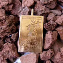 Amulets and Charms - Tarot Fool Card Pendant Gold - Click here for more info