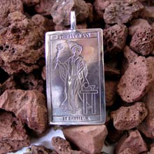 Amulets and Charms - Tarot Magician Card Pendant Silver - Click here for more info