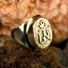 Amulets and Charms - Tibetan Om ring gold - Click here for more info