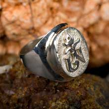 Amulets and Charms - Tibetan Om ring Silver - Click here for more info
