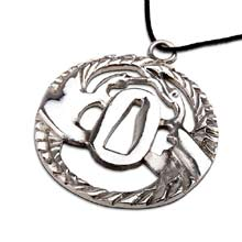 Amulets and Charms - Tsuba with cranes silver - Click here for more info